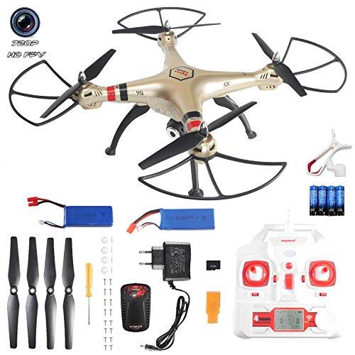 FPS-RTF-Bundle-SYMA-X8HW-RC-Drohne-mit-Kamera-DE-Version-XXL-60cm-FPV-HD-720P-Livebild-Kamera-4GB-Hhen-Baromter-2x-2000mAh-Akku-4x-AA-Deutsche-Anleitung