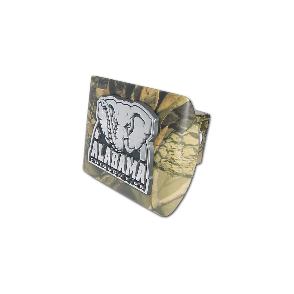 University of Alabama Crimson Tide Camo with Chrome Plated Metal Elephant Emblem NCAA College Sports Metal Trailer Hitch Cover Fits 2 Inch Auto Car Truck Receiver