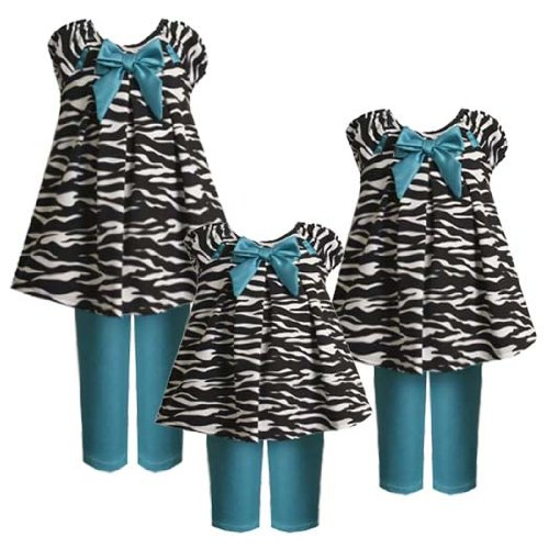Size-12M BNJ-0867B 2-Piece JADE-BLUE BLACK WHITE PULL-THRU RIBBON ZEBRA ANIMAL PRINT KNIT Dress and Legging/Pants Outfit Set,B10867 Bonnie Jean BABY/INFANT