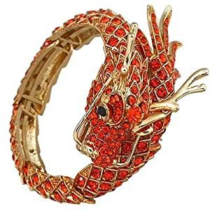 Amazing Dragon Adjustable Cuff Bangle Bracelet / Rhinestones / Color: Orange / Gold Plated / Gift Boxed / Lead & Nickel Free