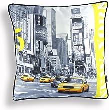 Nava New Yellow Modern USA New York Taxi Photo Decorative Pillow Case Cushion Cover