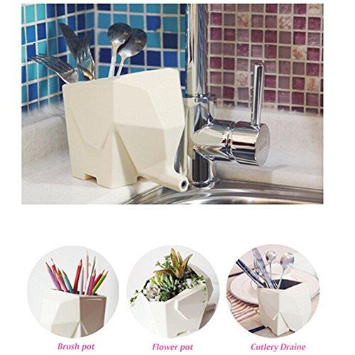 Dicoco white elephant kitchenware chopsticks cutlery for Elephant bathroom accessories