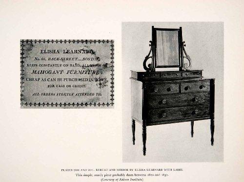 1939 Print Elisha Learnard Bureau Mirror Dressing Table Dresser Furniture Maker - Original Halftone Print front-1018159