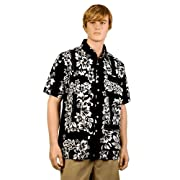 Black & White Hibiscus Hawaiiabera Shirt