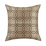 Chic Cushion Covers Throw Pillows Case Faux Silk Taupe Ground with Brown Checks Embroidery 18in X 18in