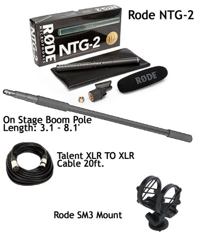 Rode Ntg-2 Multi-Powered Condenser Shotgun Microphone For Camcorders, Dslr & Boompole / On-Stage Mbp7000 / Talent Xlr To Xlr Cable 20Ft / Rode Sm3 Mount