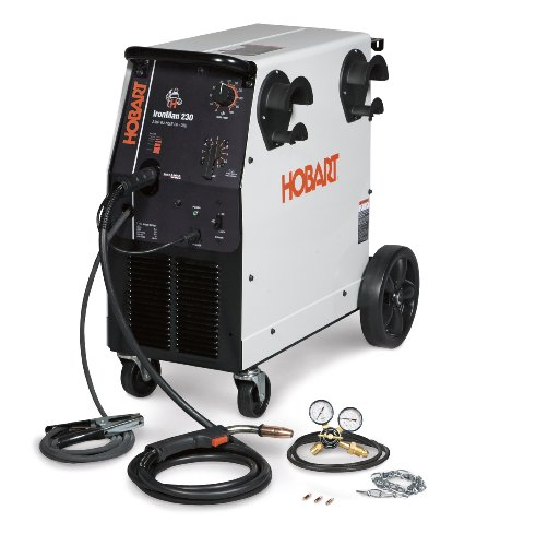 Hobart 500536 Ironman 230 250 Amp MIG Welder With Wheel Kit & Cylinder Rack
