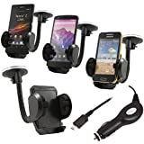 ITALKonline (CARKIT PACK) In Car Windscreen Mount Suction Holder and In Car 12/24V Car Charger for HTC M8 One 2