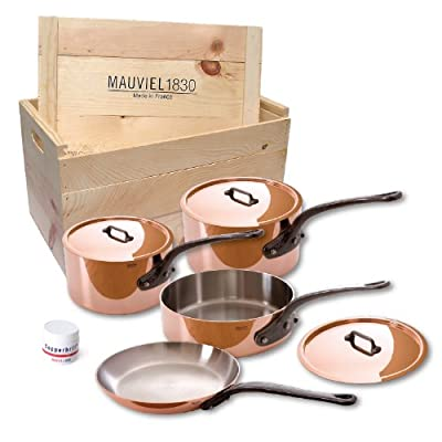 Mauviel Made In France M'heritage 150c 6400.02WC Crated 7-Piece Set with Cast Iron Handles