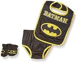 DC Comics Baby Bib Bootie Set and Diaper Cover, Black/Yellow, Infant