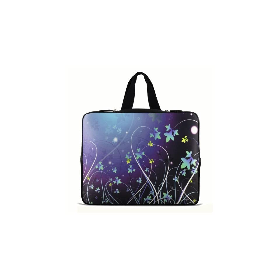 Blue Flower 9.7 10 10.1 10.2 inch Laptop Netbook Tablet Case Sleeve Carrying bag with Hide Handle For iPad 2 3/Asus EeePC 10 transformer/Acer Aspire one/Dell inspiron mini/Samsung N145/Toshiba/Kindle DX/Lenovo S205/HP Touchpad Mini 210