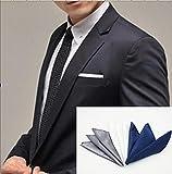 Shop XJ 結婚式 ポケット チーフ メンズ 3枚セット (A シルバー×ホワイト×ブルー)