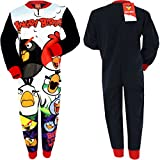 Boys Character Onesie Pyjama Pj All In One Cartoon Cotton Marvel Comic Gift Kids (7-8 years, Angry birds (Fleece))