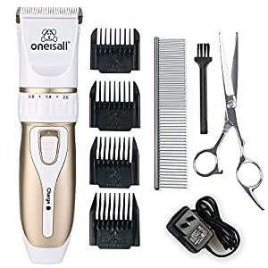 oneisall Professional Rechargeable Cordless Electric Pet Grooming Trimming Clipper Kits for Dogs Cats