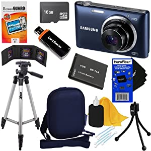 "Samsung ST150F 16.2MP Smart Wi-Fi Digital Camera with 5x Optical Zoom and 3.0"" LCD Screen (Black) + BP-70A Battery + 9pc Bundle 16GB Deluxe Accessory Kit w/ HeroFiber® Ultra Gentle Cleaning Cloth"