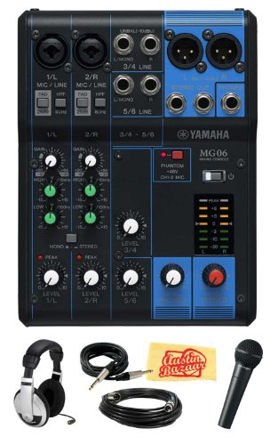 Yamaha Mg06 6-Channel Mixing Console Bundle With Vocal Mic, Headphones, Xlr Cable, Instrument Cable, And Polishing Cloth