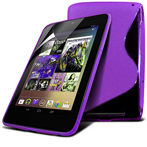 Lg Google Nexus 7 Purple S Line Wave Gel Case Skin Cover With Lcd Screen Protector Guard, Polishing Cloth By Fone-Case