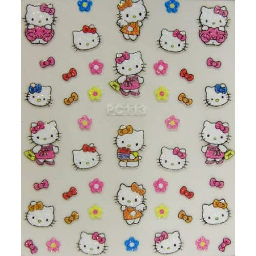 XH pretty hello kitty 3D nail art stickers flowers and bows