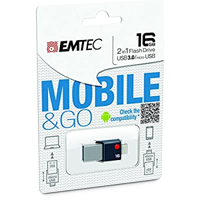 EMTEC Mobile & Go 2 in 1 Flash Drive with USB 3.0 and Micro-USB, 16 GB