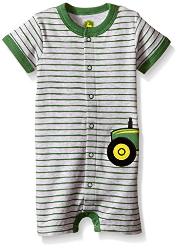 John Deere Baby Tractor Applique Romper, Heather Grey/Green, 3-6 Months
