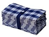 Cotton Craft 12 Pack Gingham Checks Oversized Dinner Napkins - Navy-White - Size 20x20 - 100% Cotton - Tailored with mitered corners and a generous hem - Easy care machine wash