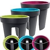 357-Balkon-Blumentopf-Lila-Purple-Gelnder-Pflanztopf-rund-Balkonkasten-Blumentopf-Blumenkasten