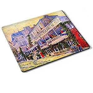 Van Gogh - The Restaurant De La Siren In Asnieres, Designer Mouse Pad with Colourful Design Strong Anti-Slip Base For Optimum Support Compatible With All Mouse Types (Ball, Optical, Laser).