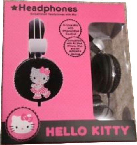 Hello Kitty Bejeweled Headphones With Mic - Black (Hk38609-Blk)