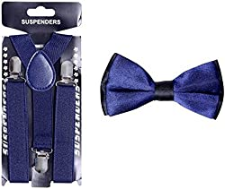 model suspender with bow tie combo