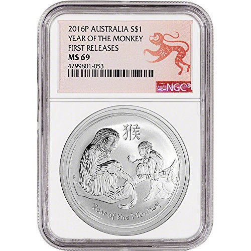 2016 AU Australia Silver (1 oz) Year of the Monkey First Releases - Lunar Label $1 MS69 NGC