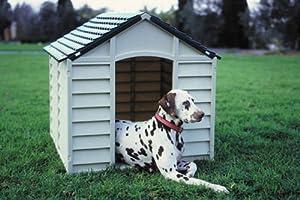 Plastic Dog Kennel Green & Cream