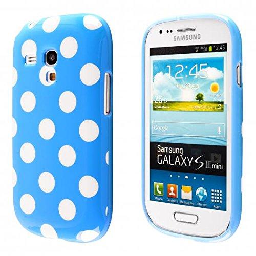 ECENCE Samsung Galaxy S3 mini i8190 Silikon TPU case schutz hülle handy tasche cover schale retro blau weiss gepunktet 23010502