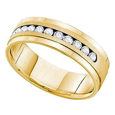 0.53 Carat (ctw) 14K Yellow Gold Round White Diamond Men's Machine Set Wedding Anniversary Band 1/2 CT