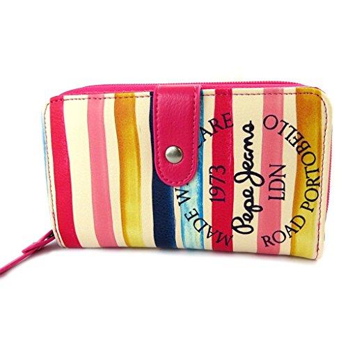 Zip wallet 'Pepe Jeans'multicolore rose - 16.5x10x4 cm.