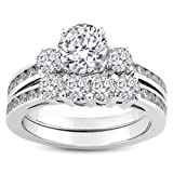 1.75 Carat (ctw) 14k White Gold Round Diamond Ladies Bridal Ring Engagement Matching Band Set with Matching Wedding Band