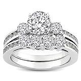 1.15 Carat (ctw) 14k White Gold Round Diamond Ladies Bridal Ring Engagement Matching Band Set with Matching Wedding Band