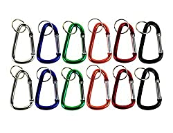 Lot of 12 Carabiners 3 Aluminum Hook Lock Keychain Key Ring Spring Belt Clip By Spreezie