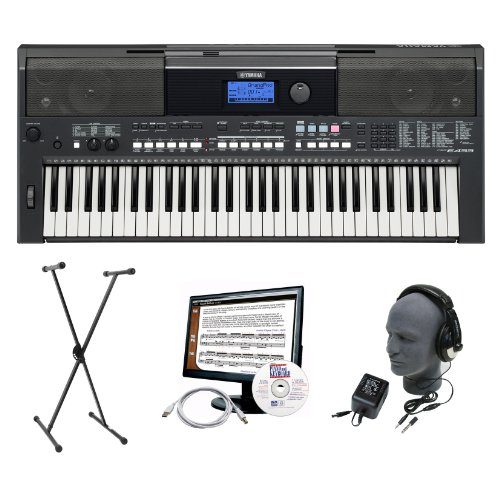 Yamaha PSR-E433 Premium Keyboard Package with Headphones, Stand, Power Supply, 6-Feet USB Cable and eMedia Instructional Software