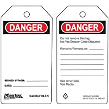 "Master Lock ""Danger"" Tag, Plastic, 5-3/4"" Height, 3"" Width"