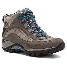 Merrell Women\'s Siren Waterproof Mid Hiking Boot,Castle Rock/Blue,9.5 M US