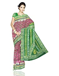 Unnati Silks Women Bengal Silk Tribal Printed Purple Saree