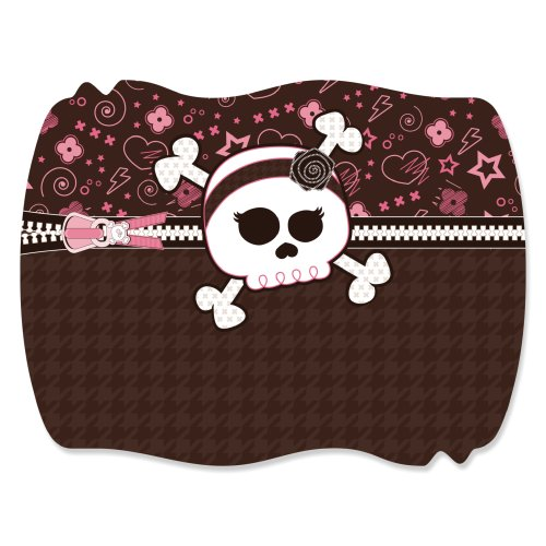 Skullicious - Girl Skull - Squiggle Party Favor Sticker Labels (1 Sheet Of 16) front-718654