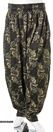 BAGGY GYM WORKOUT PANTS-golden dragon print