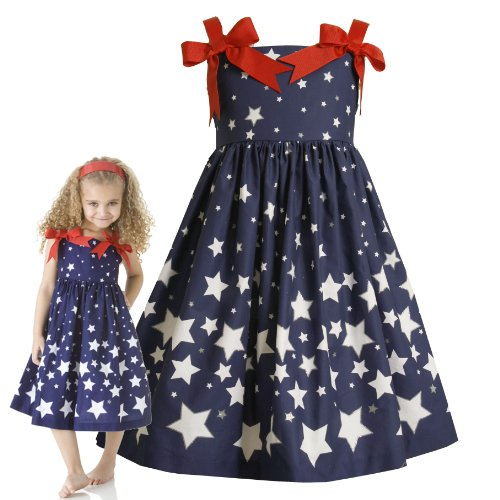 Size-4,BNJ-9085M BLUE RED WHITE GLITTER STARS Americana Patriotic Spring Summer Girl Party Dress,M39085 Bonnie Jean LITTLE GIRLS