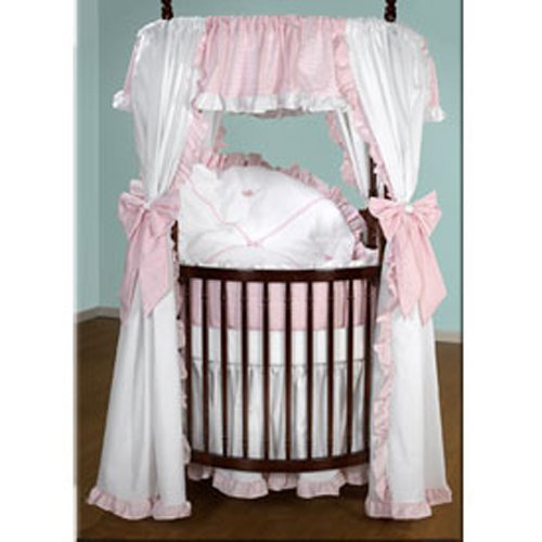 Baby Doll Bedding Darling Pique Round Crib Bedding Set, Pink front-764136