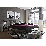 SAM® Metallbett 140 x 200 cm Kos in schwarz filigrane Verzierungen Blickfang Lieferung per Spedition mit telefonischer...