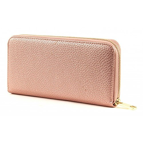 Guess Alanis Woman Wallet Large Zip Around Rose Metal