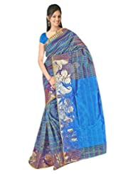 Nirvaan Supernet Multi Checks Saree with Zari Skart Border(Blue)