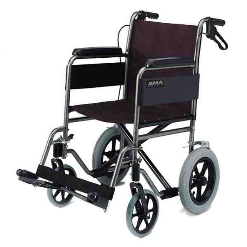 Lightweight Car Transit Wheelchair with Folding Back, Fixed Arms, Swing Away Footrests and Loop Cable Brakes