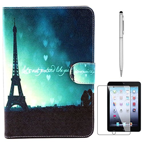 IPad Mini Case, Gift-Hero(TM) Eiffel Tower PU Leather Wallet Type Magnet Design Flip Cover Credit Card Holder Pouch Cases for Apple iPad Mini 1 2 3 (Green Eiffel Tower)